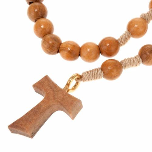 Olive wood rosary with round beads and Tau cross s1