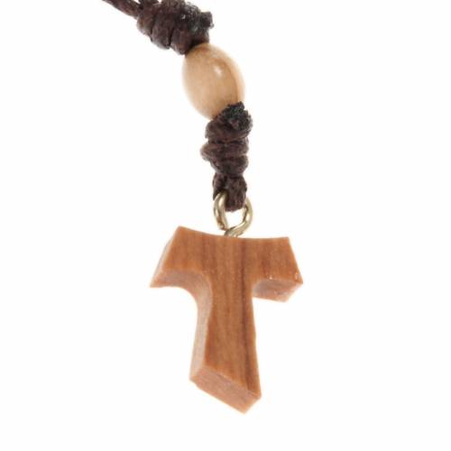 One decade olive wood beads rosary and tau cross s2