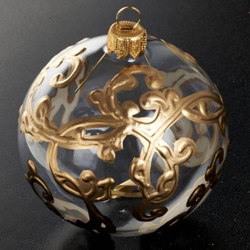 Ornement sapin, boule verre transparente 8 cm s2