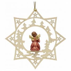 Ornement sapin Noël ange avec cadeau sur étoile s2