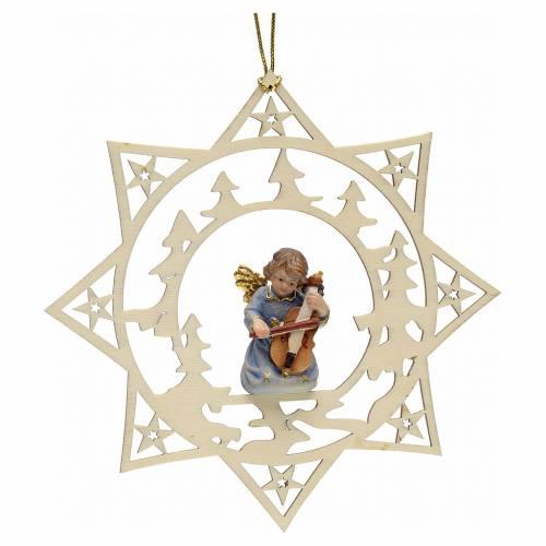 Ornement sapin Noël ange avec contrebasse sur étoile s1