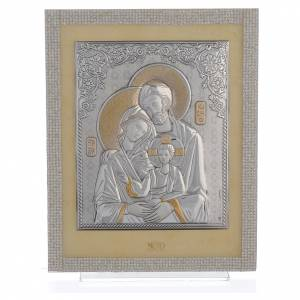 Bonbonnière: Orthodox Holy Family favour with white Swarovski and silver 25x20cm