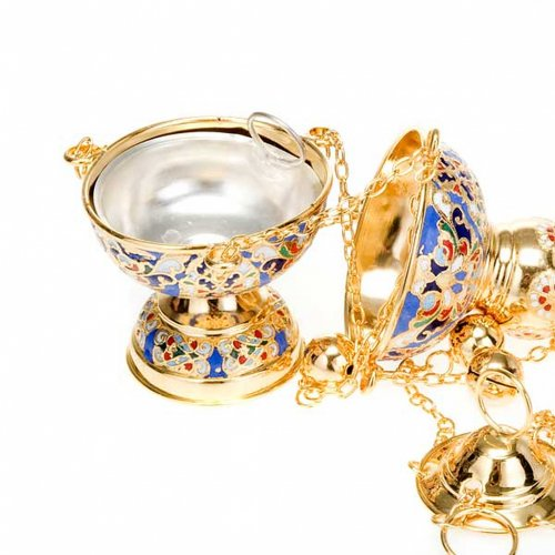 Orthodox style glazed golden thurible s3