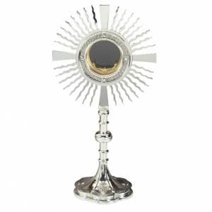 Ostensoirs, Reliquaires  en métal: Ostensoir laiton argenté croix sur la base