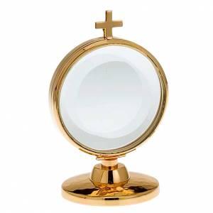 Ostensorio teca ottone dorato diam cm 8,5 s1