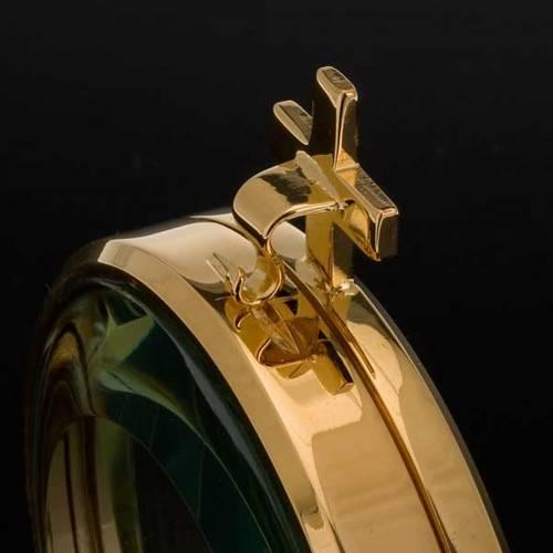 Ostensorio teca ottone dorato diam cm 8,5 s3