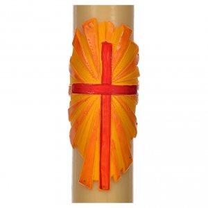 Kerzen: Osterkerze Bienenwachs mit Kreuz Relief 8x120cm