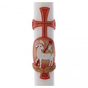 Kerzen: Osterkerze Lamm und Kreuz rot 8x120cm