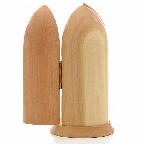 Our Lady of Lourdes with Bernadette in Nische wooden statue pain s3