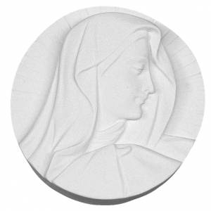 Funeral products: Our Lady's Face round shaped bas-relief in reconstituted marble