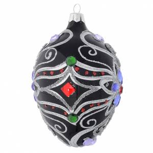 Oval Christmas bauble in blown glass with floral silver and black decoration 130mm s2