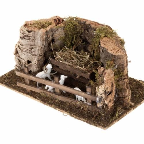 Ovile pecore legno e sughero presepe 10 cm s2