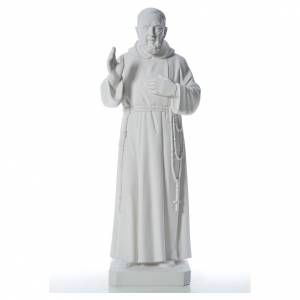 Reconstituted marble religious statues: Padre Pio statue in reconstituted Carrara marble, 110 cm