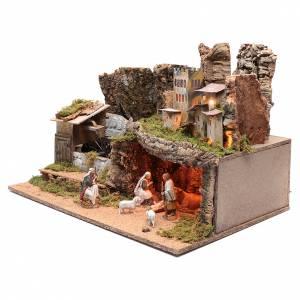 Paesaggio roccioso con mulino funzionante e luci 40x60x40 cm s2