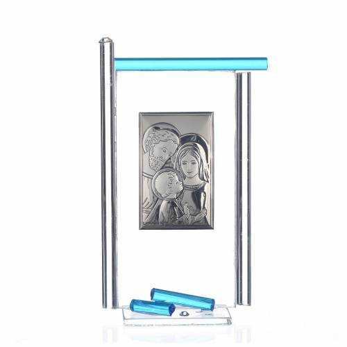 Painting Holy Family silver and Murano Glass, Aquamarine 13x8cm s1