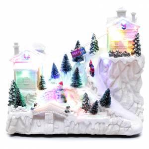 Pueblos navideños en miniatura: Paisaje navideño blanco con teleférico 30x30x15 cm