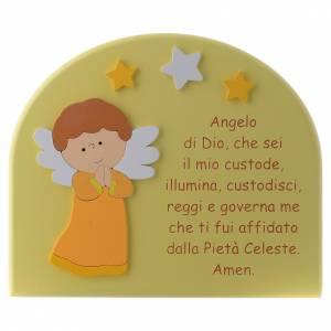 Azur Loppiano: Pala Angelo di Dio cupola legno giallo Angelo arancio 15x20 cm