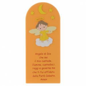 Bassorilievi vari: Pala Angelo di Dio legno colorato arancio 30x10 cm