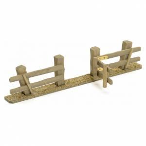 Ponts, ruisseaux, palissades pour crèche: Palissade avec porte pour crèche 3x7x2 cm