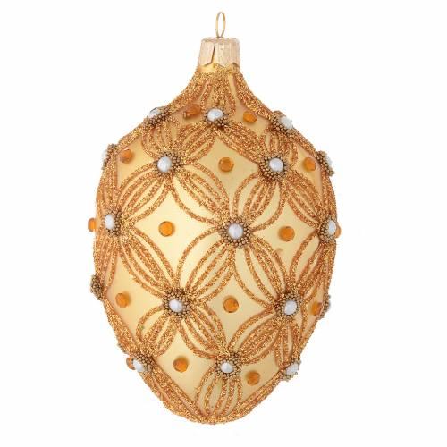 Palla Albero Natale ovale oro decoro in rilievo 130 mm s1