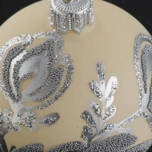 Palla albero Natale vetro argento avorio 6 cm s3