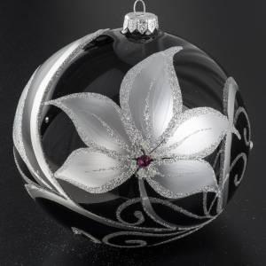 Palla albero Natale vetro nero fiori bianchi 15 cm s2