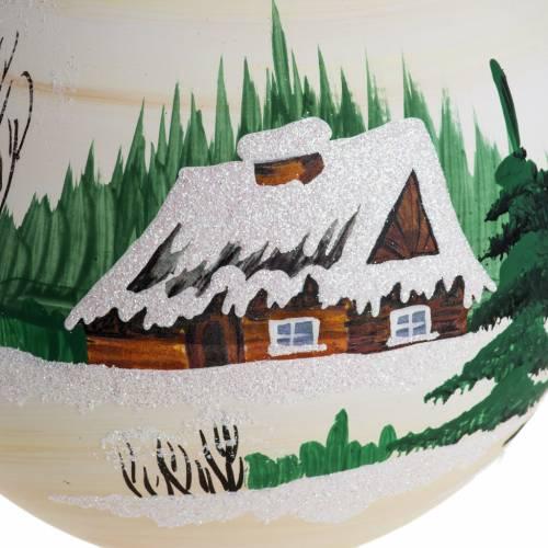 Palla Natale per albero vetro dipinto paesaggio 14 cm s2