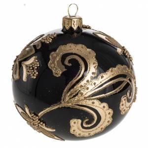 Palla Natale per albero vetro nero decori oro 10 cm s1