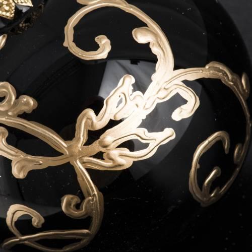 Palla Natale per albero vetro nero e oro 8 cm s3