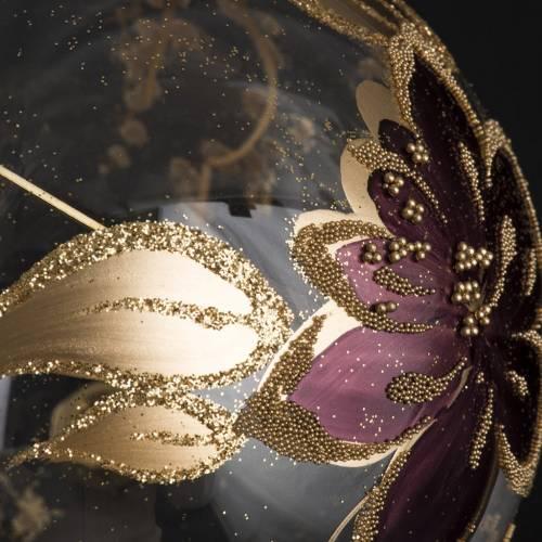 Palla Natale per albero vetro oro fucsia 10 cm s3