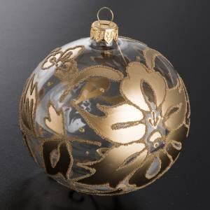 Palla Natale per albero vetro trasparente oro 10 cm s2