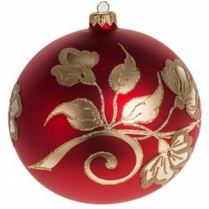 Palla Natale vetro soffiato rosso decori oro 15 cm s1
