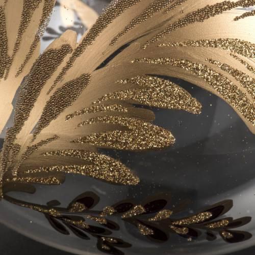 Palla Natale vetro soffiato trasparente fiore fucsia oro 15 cm s4