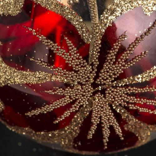 Palla Natale vetro trasparente con decoro rosso 6 cm s3