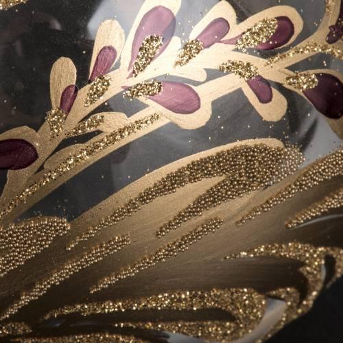 Palla Natale vetro trasparente decorazioni fucsia 10 cm s3