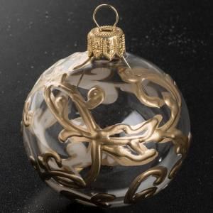 Palla Natale vetro trasparente dipinta a mano oro 6 cm s2