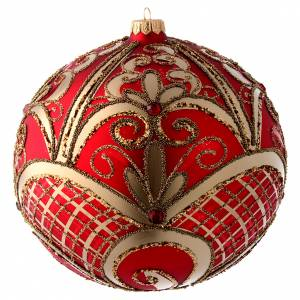 Palline di Natale: Palla vetro soffiato rosso e oro 200 mm