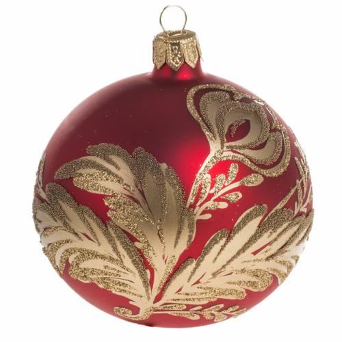 Pallina albero Natale rossa vetro fiori oro 8 cm s1