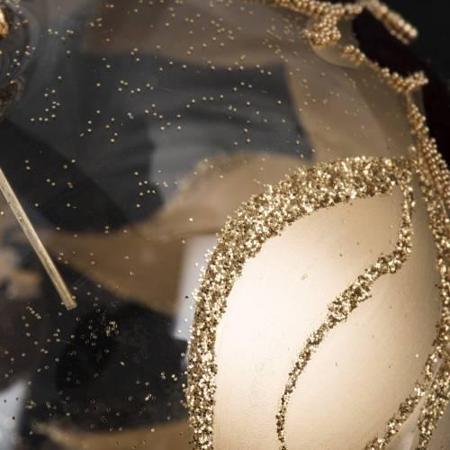 Pallina albero Natale trasparente decori oro viola 8cm s4