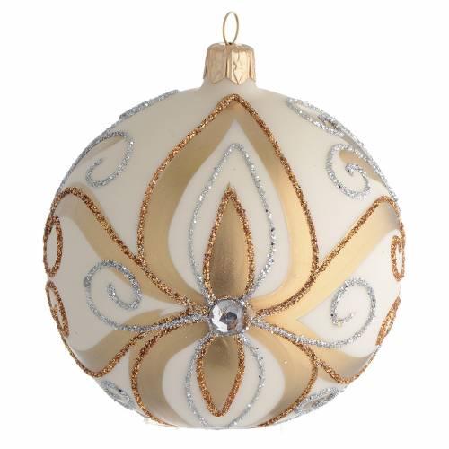 Pallina Albero Natale vetro oro argento avorio 100 mm s1