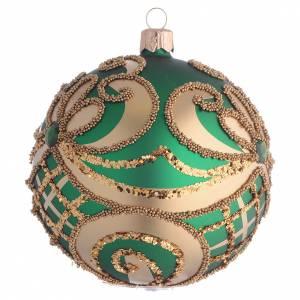 Palline di Natale: Pallina Albero Natale vetro soffiato verde oro 100mm