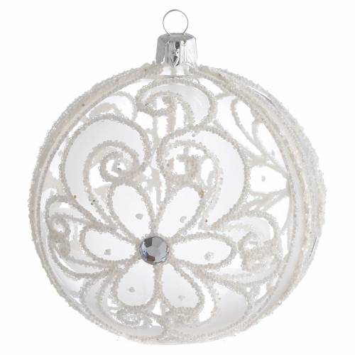 Pallina di Natale trasparente e bianca 100 mm s1
