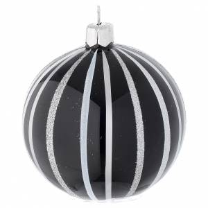 Pallina Natale vetro nero righe argento 80 mm s2
