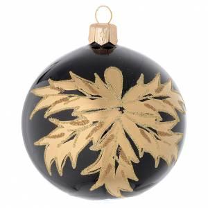 Pallina nera in vetro con foglie oro 80 mm s1