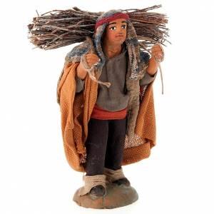 Belén napolitano: Pastor con madera 10 cm terracota