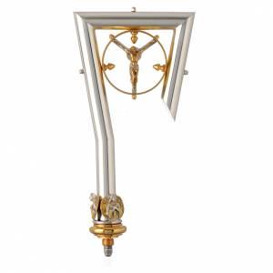 Articoli vescovili: Pastorale asta ottone Cristo dorato