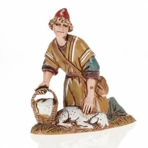 Pastore con agnello e cesto 10 cm Moranduzzo s1