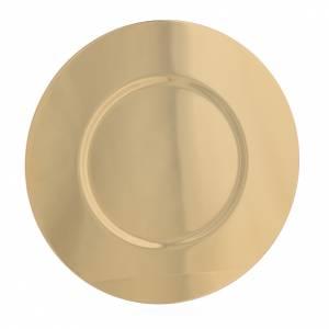 Calici Pissidi Patene metallo: Patena ottone dorato sagomata diam cm 16,5