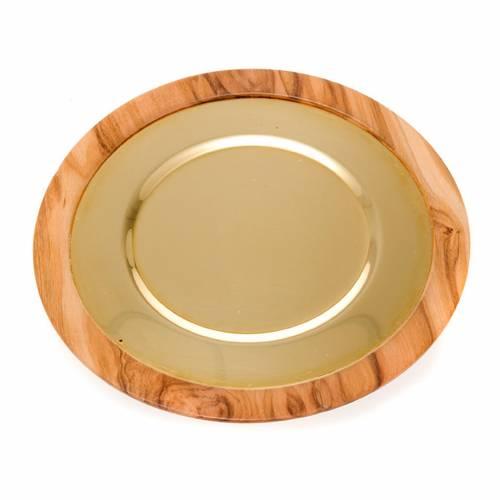 Patène bois d'olivier et or s3