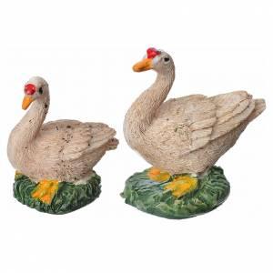 Animales para el pesebre: Patos resina, 2 piezas 15 cm